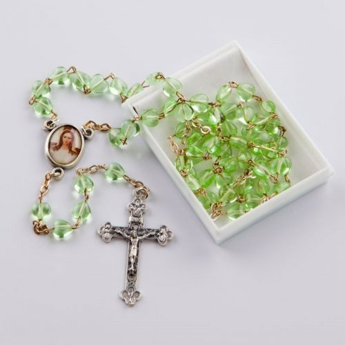 rosary with heart-shaped light green glass beads