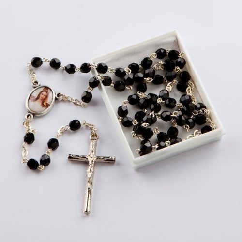 rosary with cut-glass black octagonal beads, silver-coloured chain-5 mm