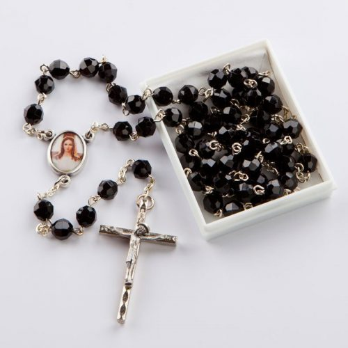 rosary with cut-glass black beads-6 mm