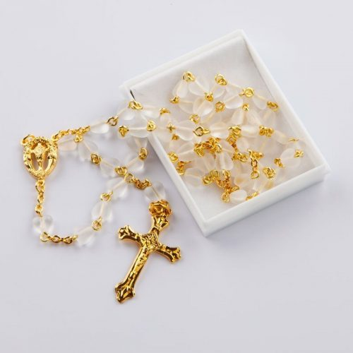 rosary with heart-shaped frosted crystal beads
