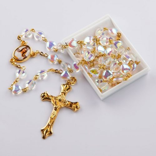 rosary with heart-shaped crystal AB beads