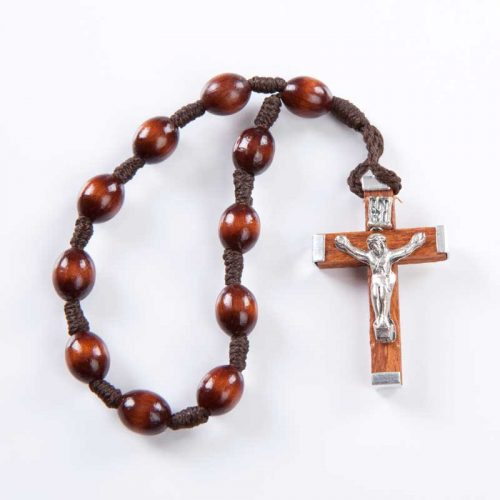 single-decade rosary with wooden beads on cord