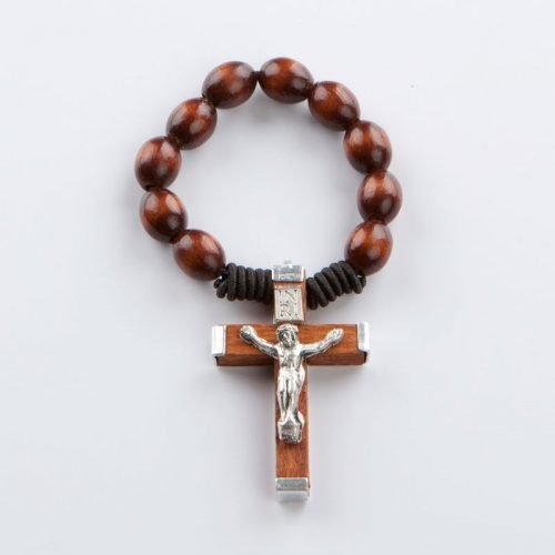 single-decade rosary with wooden beads on elastic