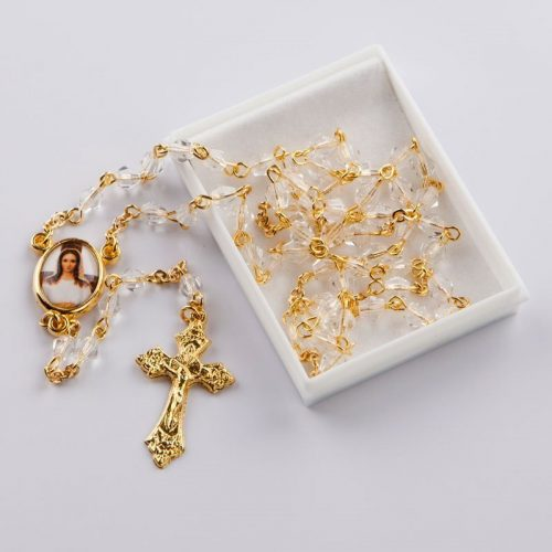 rosary with octagonal crystal beads