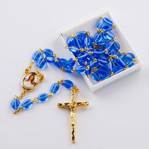 rosary with sapphire blue flat oval beads
