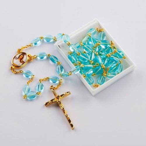 rosary with flat oval aqua beads