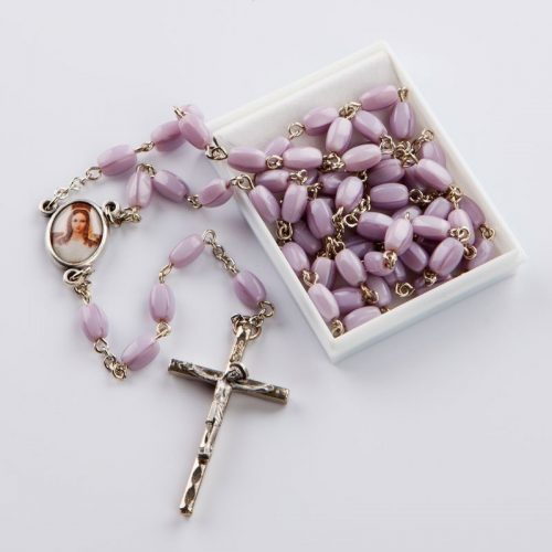 rosary with mauve oval beads