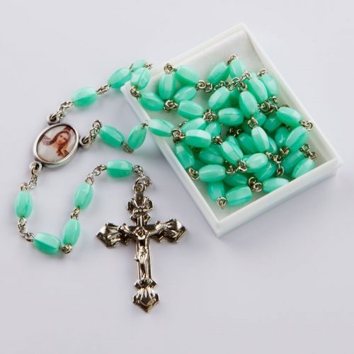 rosary with green oval beads