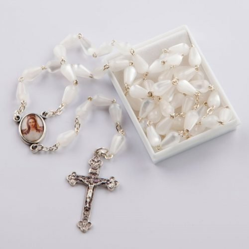 Rosary with droplet-shaped white beads