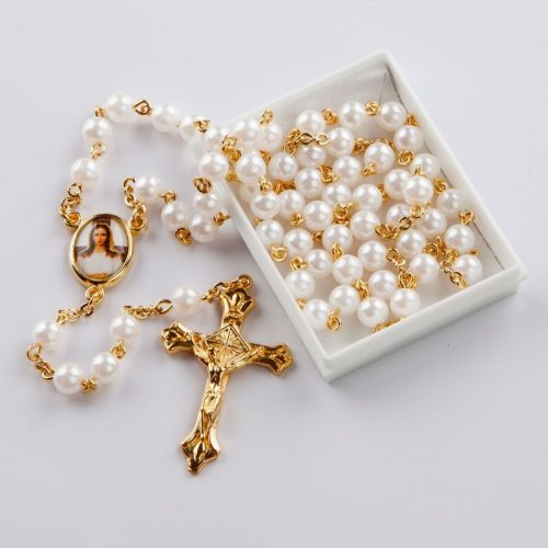 June birthstone rosary-gold-coloured chain