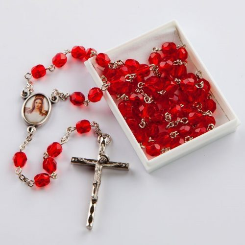 July birthstone rosary-silver-coloured chain