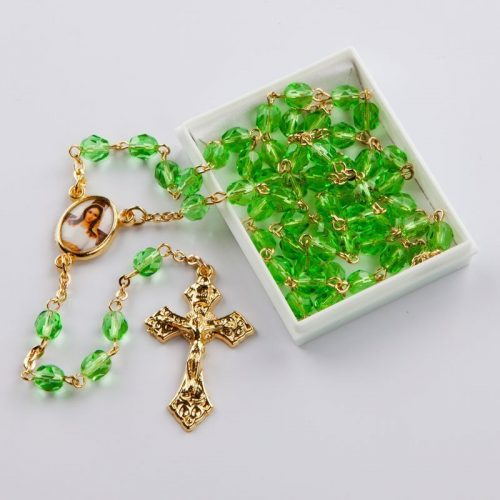 August birthstone rosary-gold-coloured chain