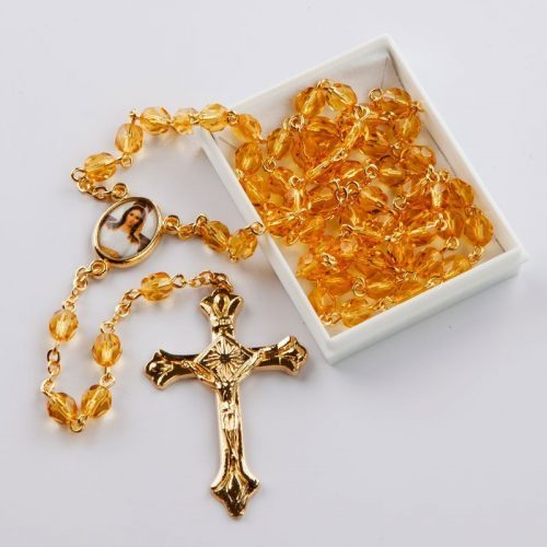 November birthstone rosary-gold-coloured chain