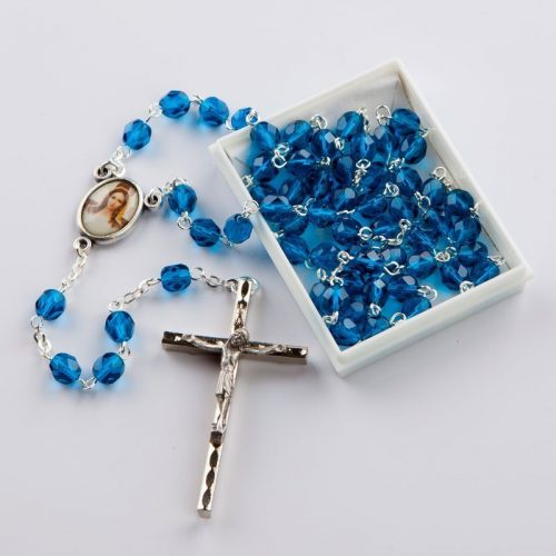 December birthstone rosary-silver-coloured chain