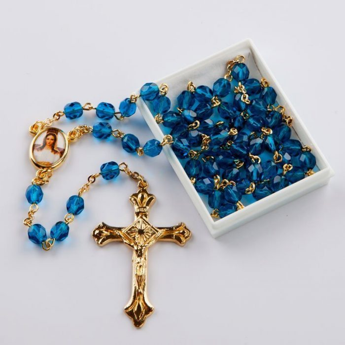 December birthstone rosary-gold-coloured chain