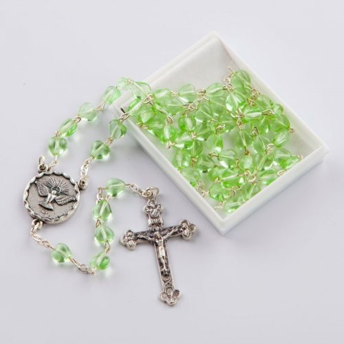 rosary with green heart-shaped beads-Confirmation