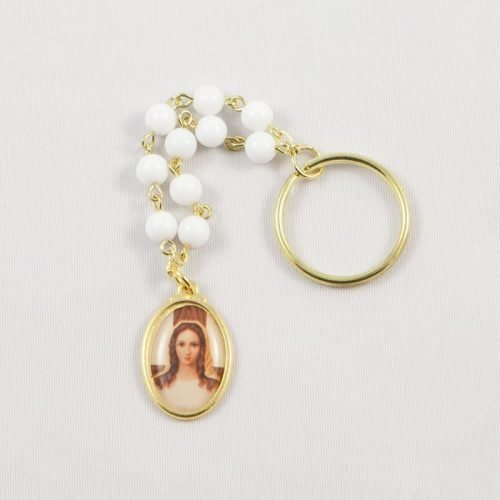 single-decade rosary key chain - lady of all peoples medal - front