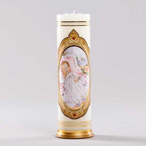 chandelle royale-baptême bébé rose fille
