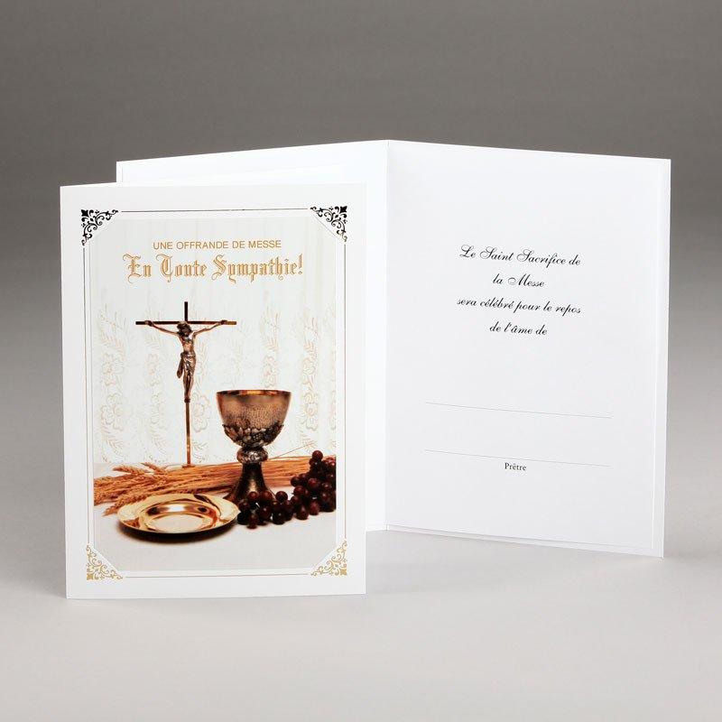 carte sympathies avec offrande de messe-calice et hostie