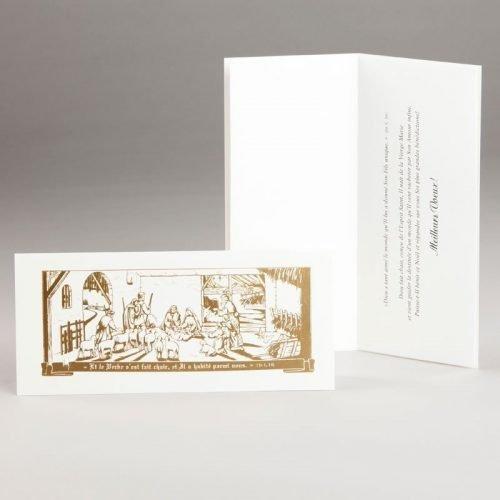 carte de noël-crèche dorée