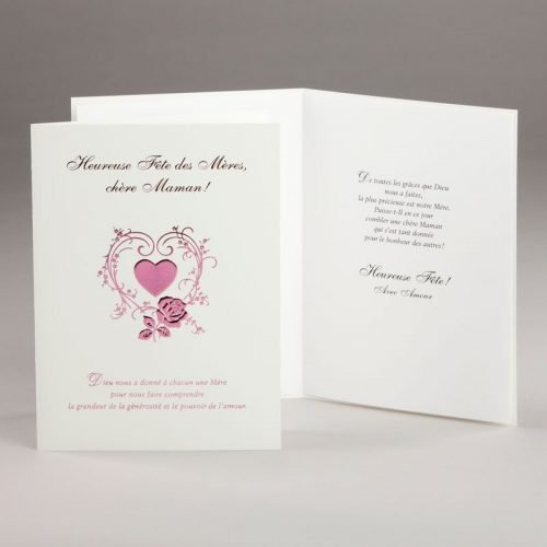 carte fête des mères-coeur fleuri