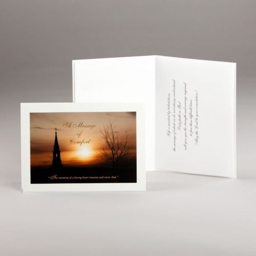 sympathy card-church steeple at dusk