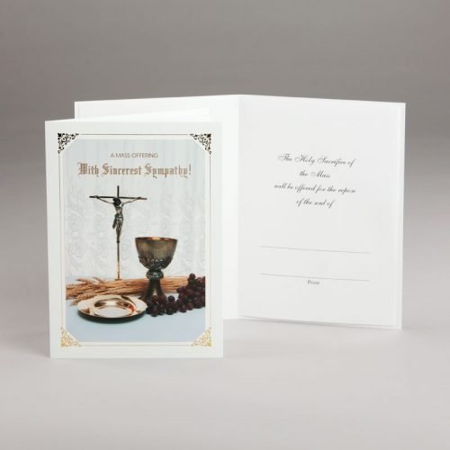 sympathy card with mass offering-chalice and host