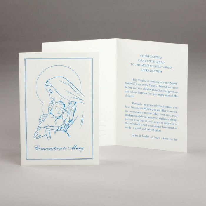 baptism card-consecration of a baby to mary