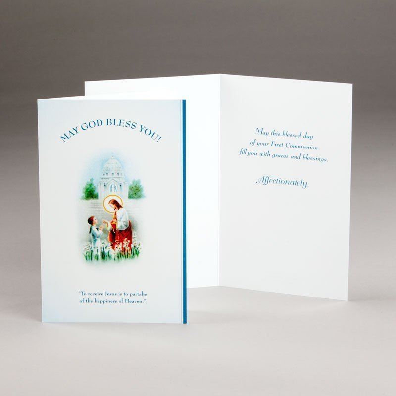 holy communion card for boy receiving jesus