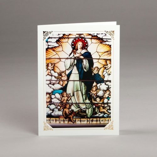 card without verse-stained-glass window-the assumption