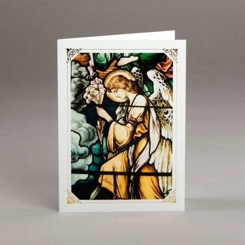 card without verse-stained-glass window-an angel