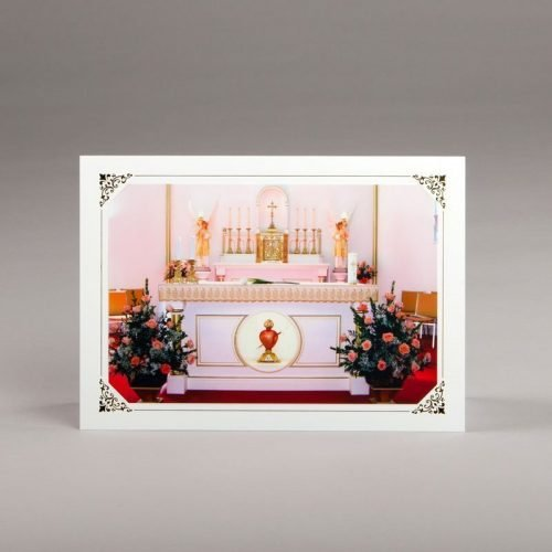 card without verse-heart set in the altar
