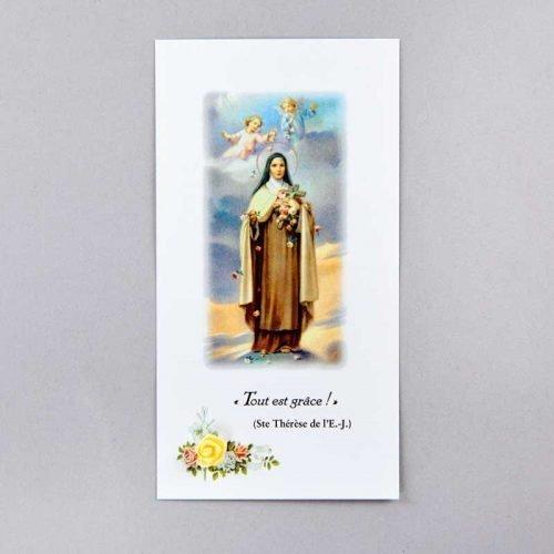 image sainte thérèse de l'enfant-jésus - tout est grâce - avec rose jaune