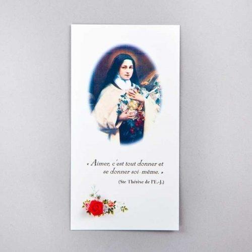image sainte thérèse de l'enfant-jésus - aimer c'est tout donner - avec rose rouge