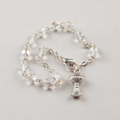 single-decade rosary bracelet first communion crystal - silver-coloured chain
