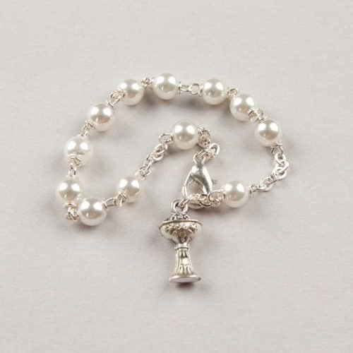single-decade rosary bracelet first communion pearl - silver-coloured chain
