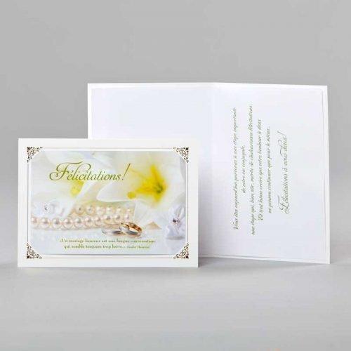 carte jubilé mariage-lys et anneaux