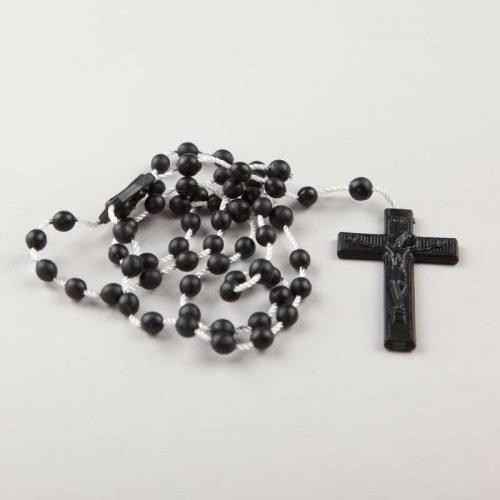 chapelet en corde - perles plastiques rondes - noir