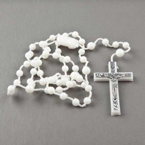 chapelet en corde - perles plastiques rondes - blanc