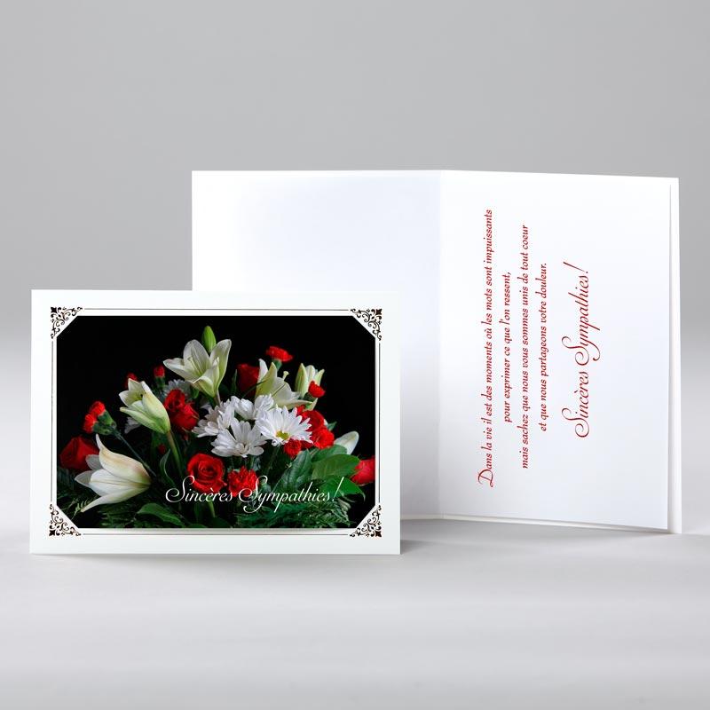 carte sympathies - lys et roses